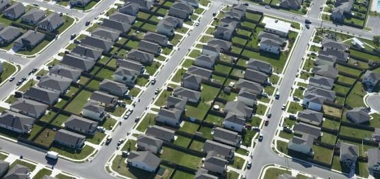 Aerial view suburban neighborhood