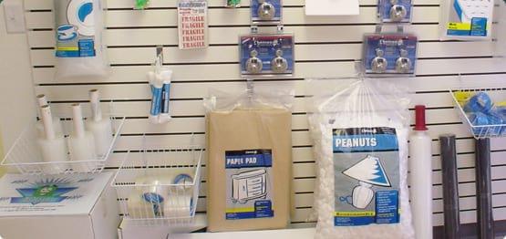 Storage supplies on display